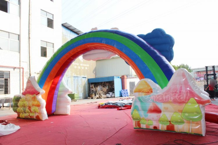 inflatable rainbow arch with cloud for family day