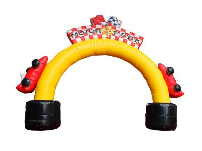 race car themed inflatable entrance archway