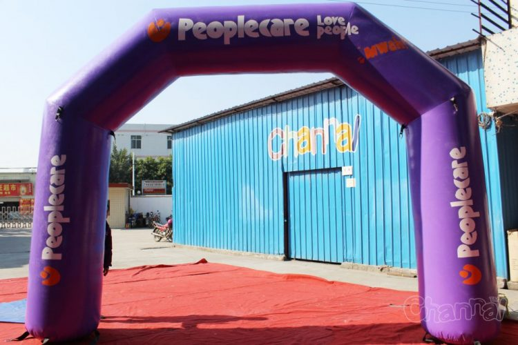purple inflatable archway for philanthropy
