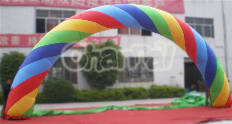 spiral rainbow inflatable arch