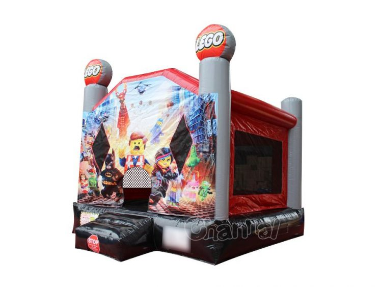 lego movie themed inflatable bounce house