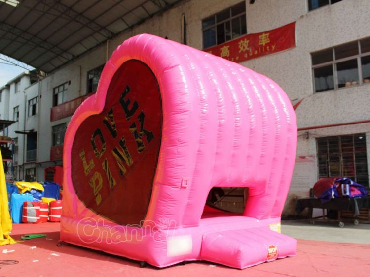pink love inflatable bounce house