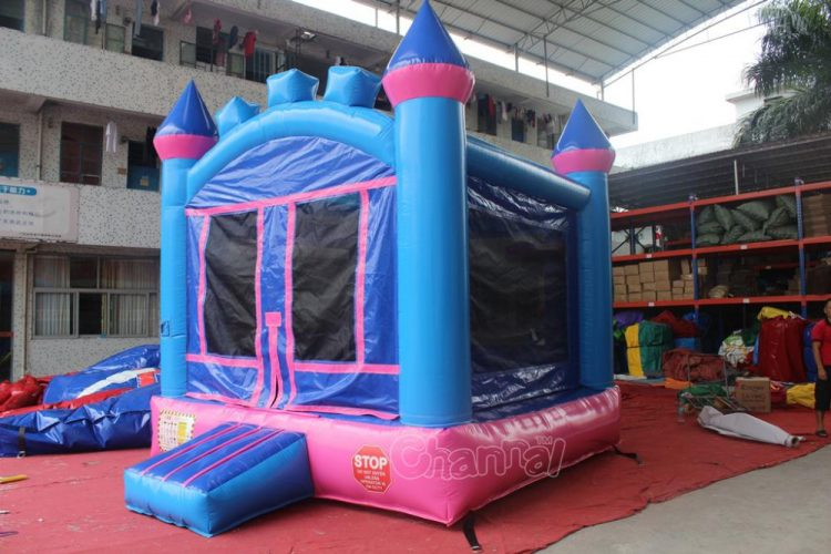 pink girl's castle bounce house