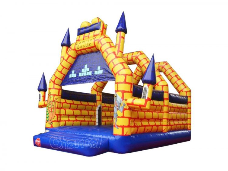 yellow Camelot castle inflatable bouncer