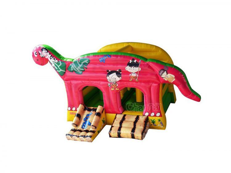 inflatable dinosaur and caveman bouncer