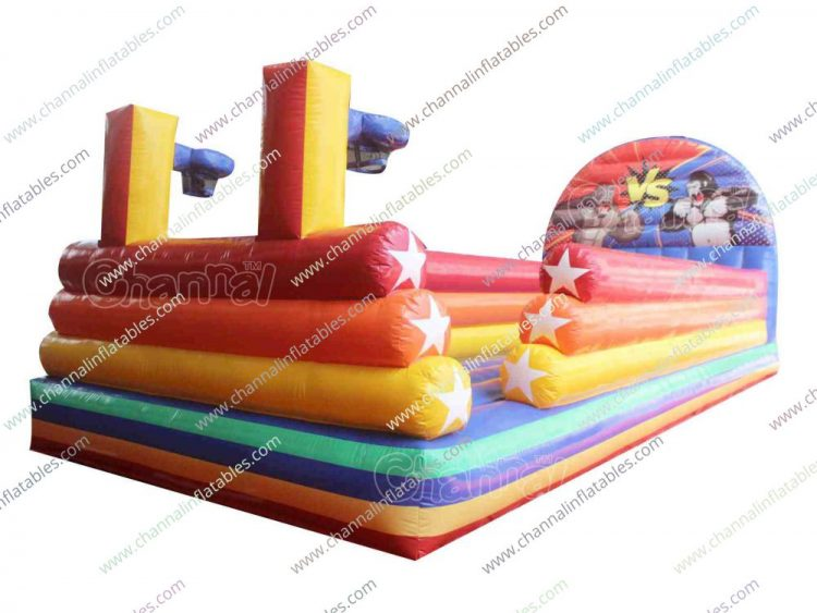 bungee run inflatable with basketball hoops