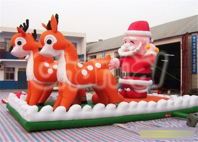 inflatable santa claus and reindeer
