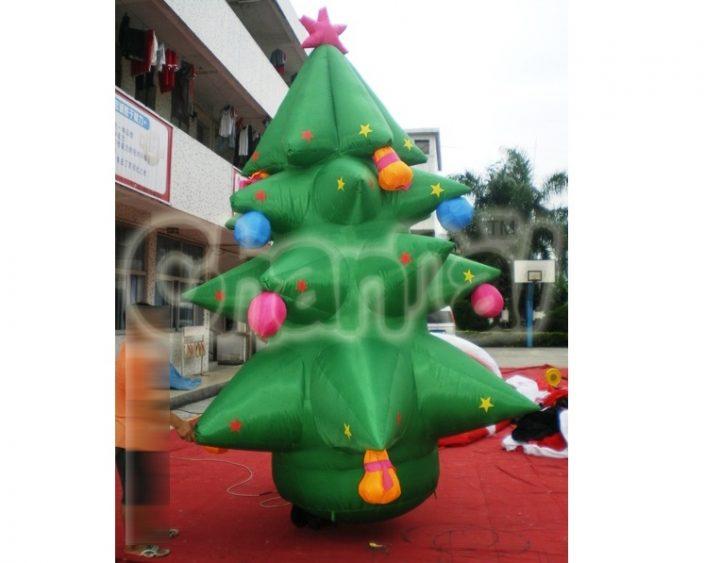 green inflatable christmas tree