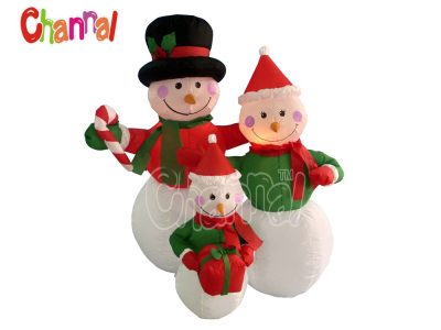 led lights inflatable snowman family