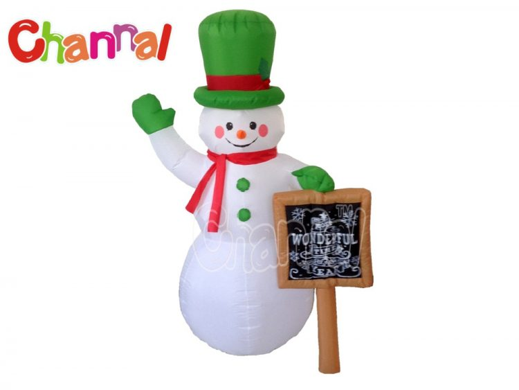 inflatable snowman with chalk board