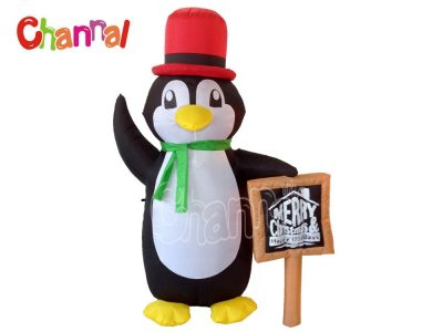 xmas inflatable penguin with chalk board