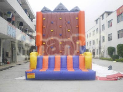 brown inflatable climbing rock wall
