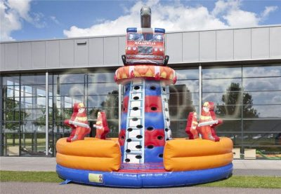fire truck rescue inflatable climbing wall