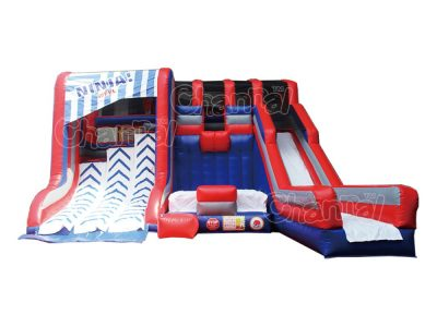 inflatable warped wall with slide and jump