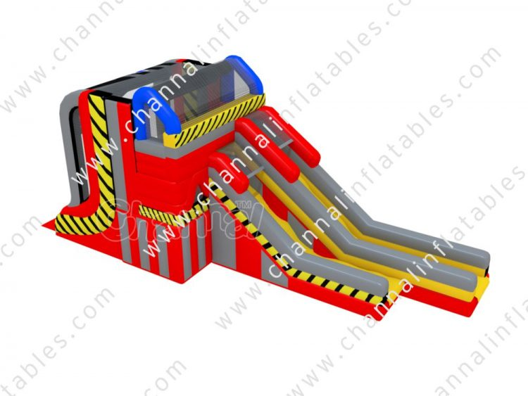 inflatable ninja warped wall with slide