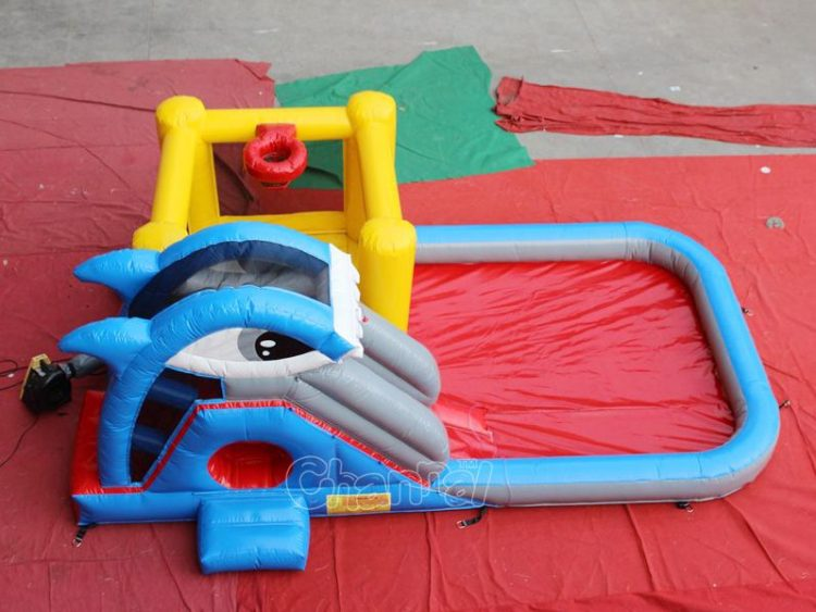 small bounce house water slide with pool for kids