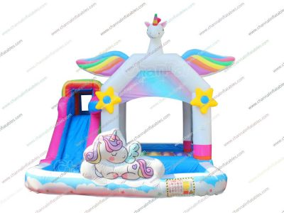 white unicorn inflatable combo with pool