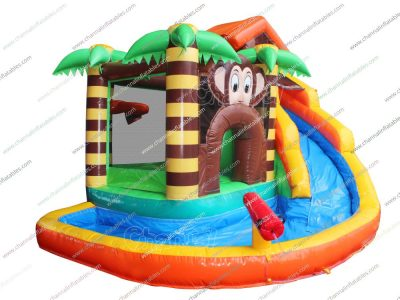 monkey themed inflatable bouncer water slide with pool