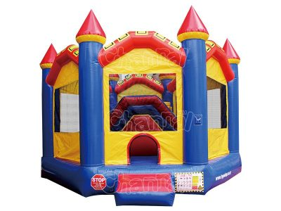 hexagon shape inflatable bounce house with slide