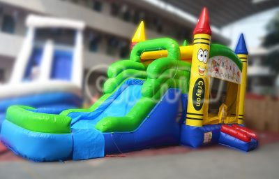 crayon theme inflatable water combo with water slide