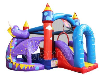 purple sky dragon inflatable bounce house with slide