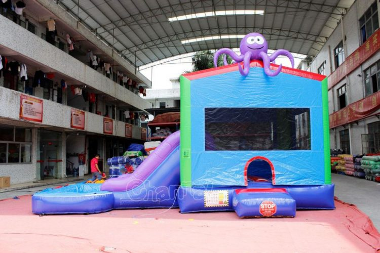 octopus themed bounce house water slide