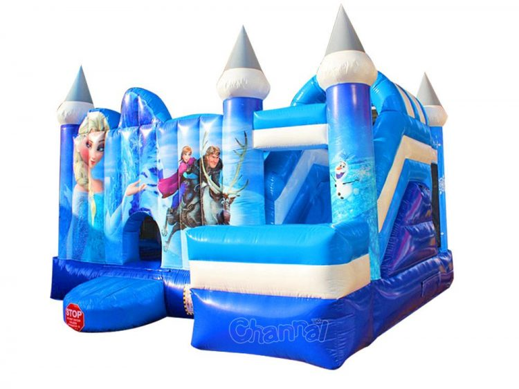 frozen inflatable bounce house combo with slide