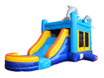 dolphin inflatable bounce house with slide