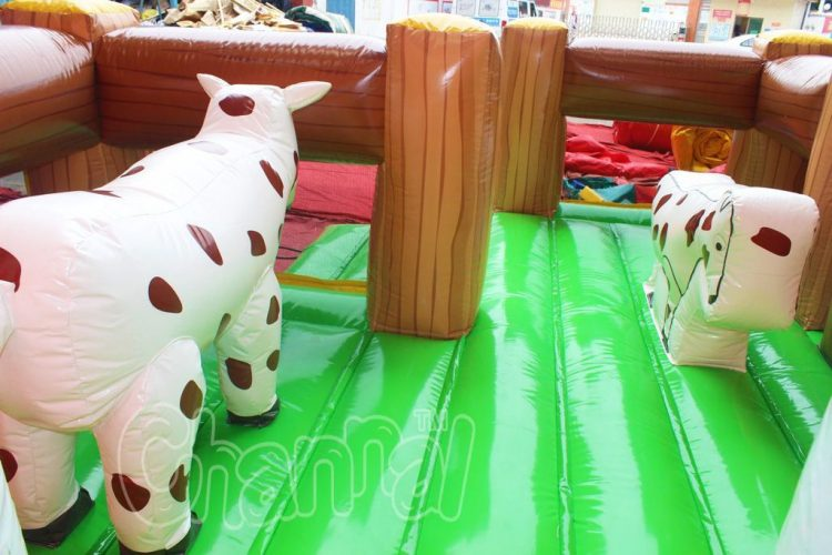 inflatable farm cow and bouncy floor