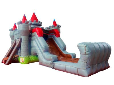 castle bounce house with water slide
