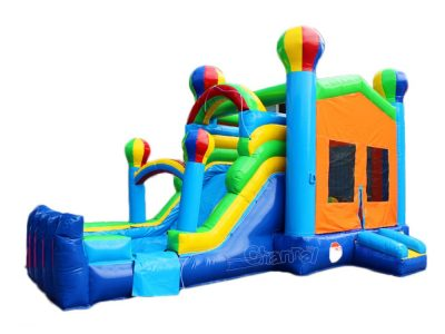 hot air balloon water bounce house combo with water slide and pool