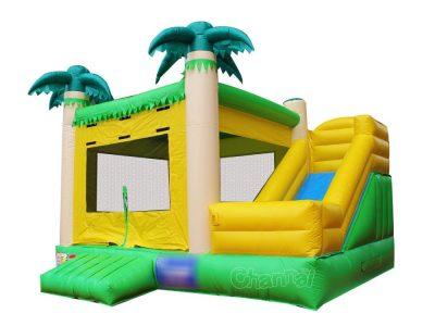 beach palm tree theme bouncy moonwalk with slide