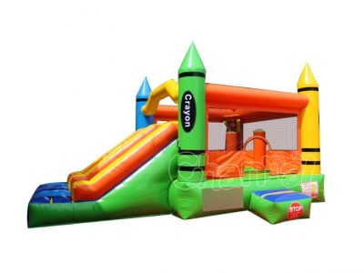 crayon theme inflatable combo with double slide