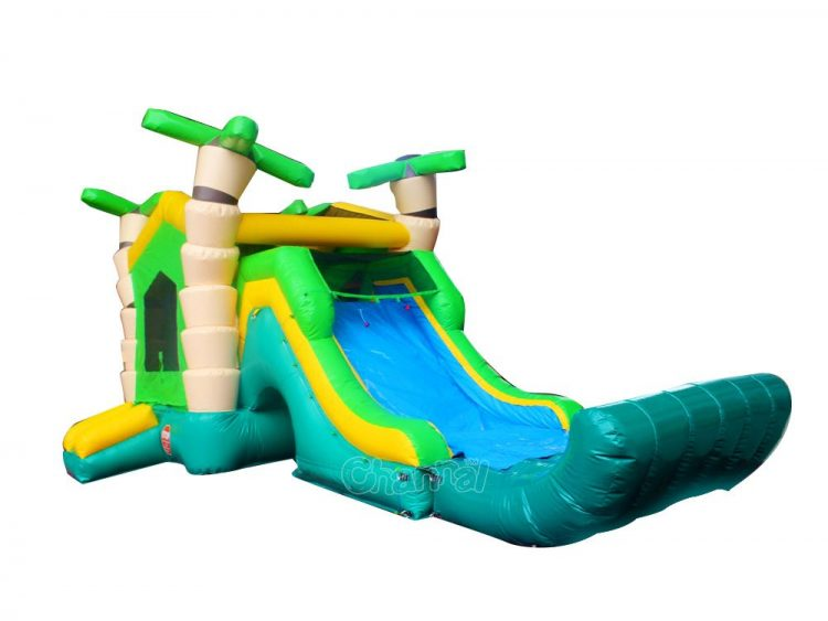 artistic palm tree design water bounce house with slide
