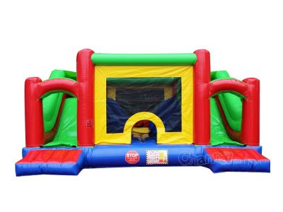 inflatable double slide bounce house combo