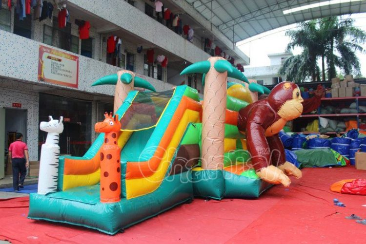 monkey bounce house combo with slide