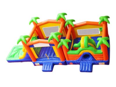 double bounce house with water slide