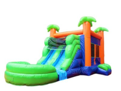 commercial double water slide with bounce house for sale