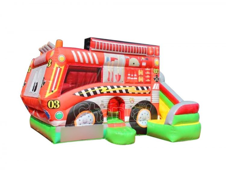 cartoon fire engine inflatable combo for sale