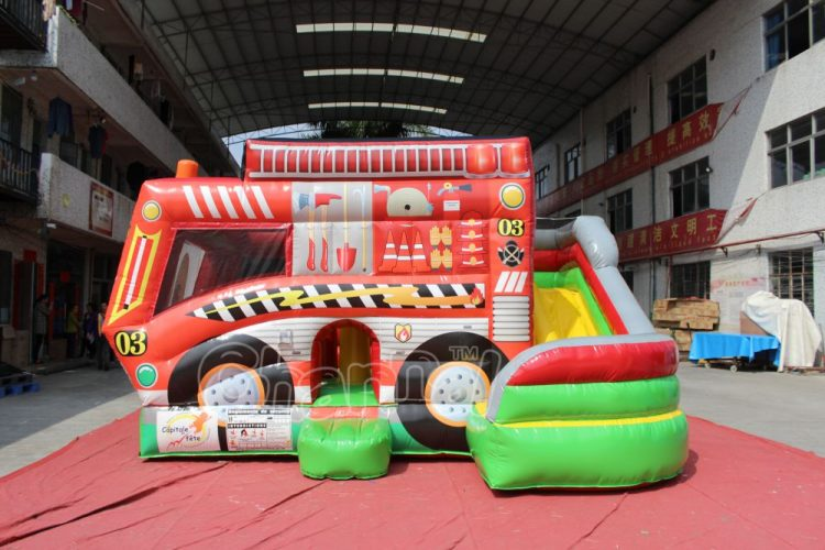 fire engine bounce house combo with slide