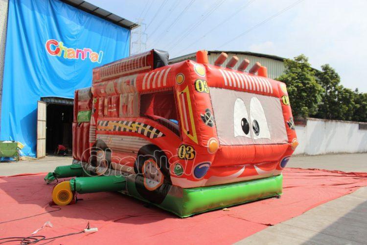 cartoon fire truck bouncy house for kids