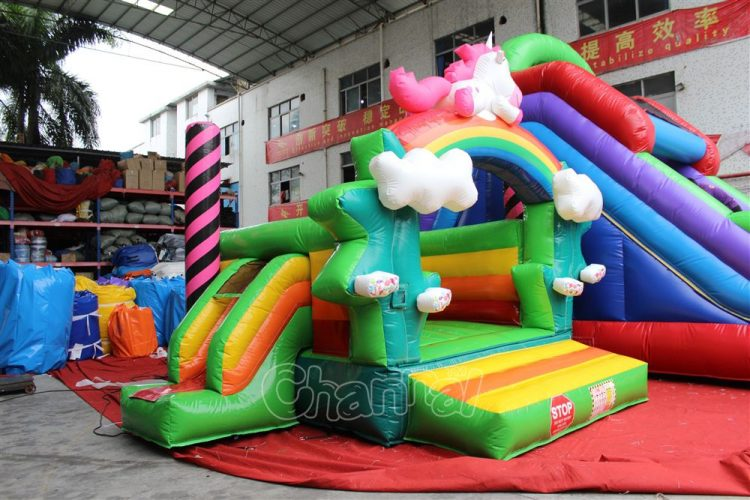 commercial rainbow unicorn pony inflatable jumper with slide