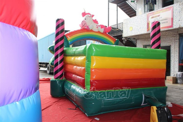 back view of rainbow pony bouncer