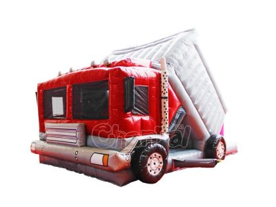 inflatable fire truck combo slide