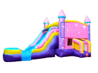 pink inflatable water bounce house combo with slide