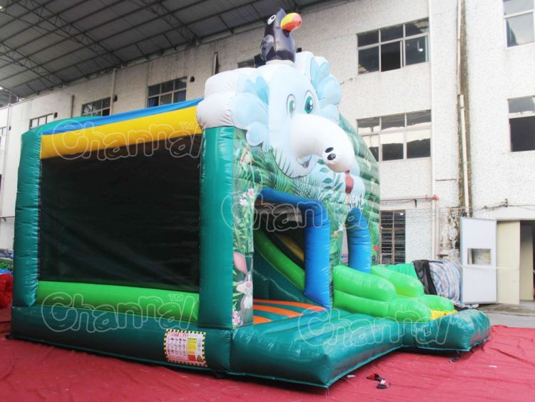 forest elephant inflatable combo with slide