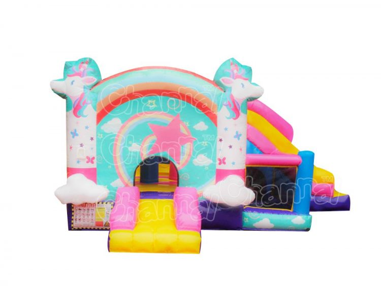 kids unicorn inflatable combo with ball pit