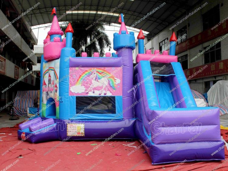princess with unicorn inflatable castle
