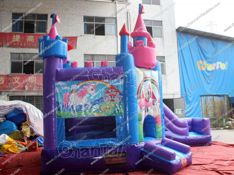 princess castle and unicorn bounce house combo