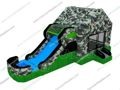 military water bounce house with slide